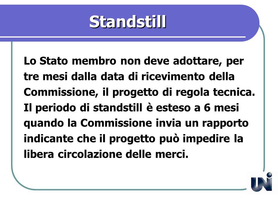 Standstill Lo Stato membro non deve adottare, per tre mesi dalla data di ricevimento della Commissione, il progetto di regola tecnica.