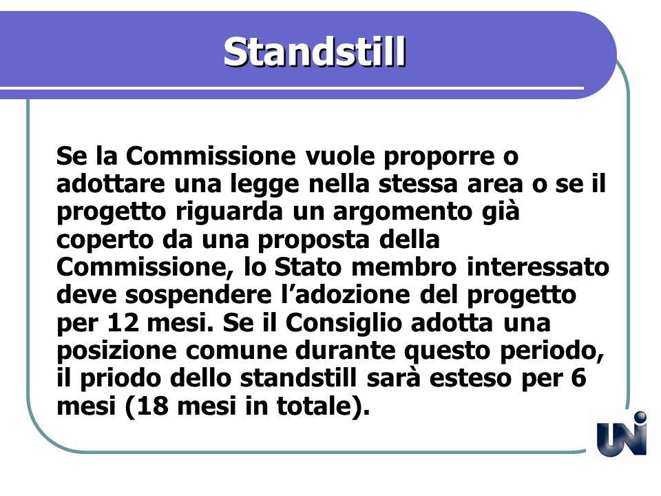 Standstill Se la Commissione vuole proporre o adottare una legge nella stessa area o se il progetto riguarda un argomento già coperto da una proposta della Commissione, lo Stato membro interessato deve sospendere ladozione del progetto per 12 mesi.