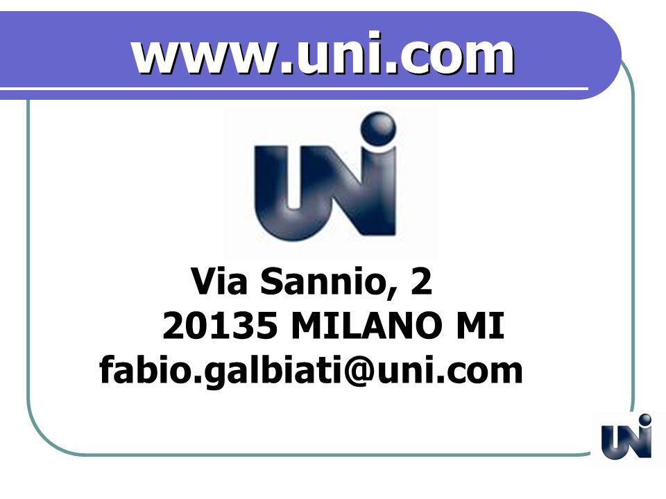 Via Sannio, 2 20135 MILANO MI fabio.galbiati@uni.com www.uni.com