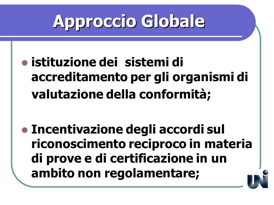 Approccio Globale istituzione dei sistemi di accreditamento per gli organismi di valutazione della conformità; Incentivazione degli accordi sul riconoscimento reciproco in materia di prove e di certificazione in un ambito non regolamentare;