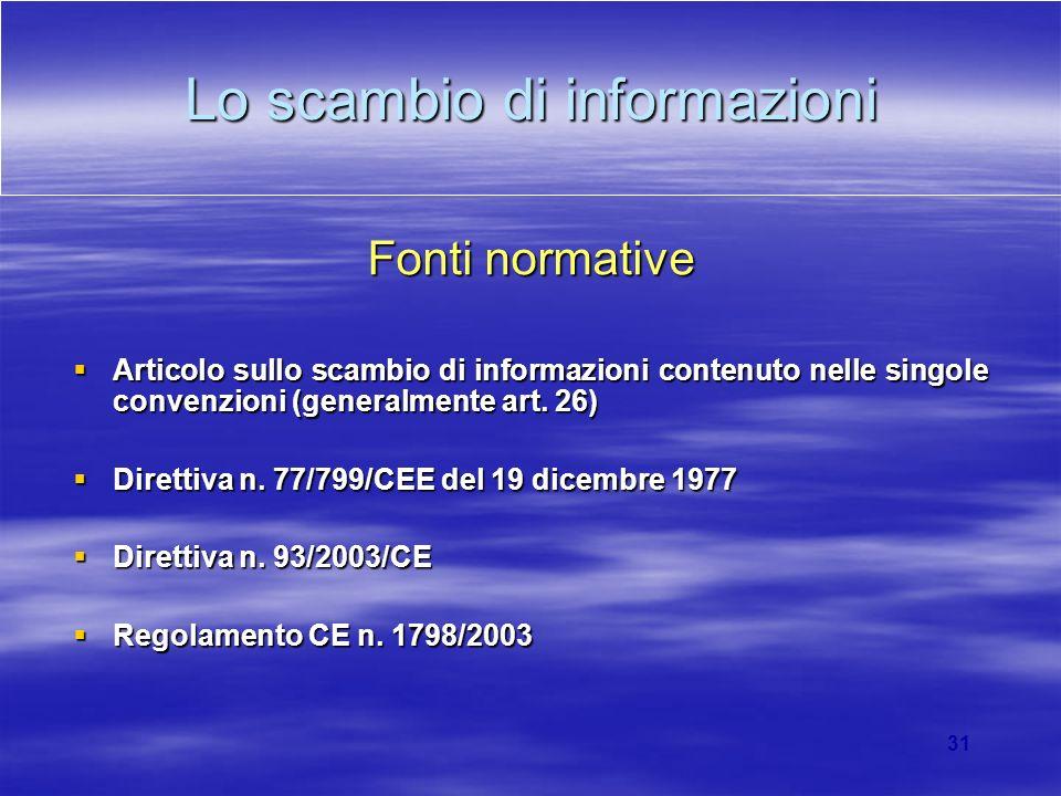 31 Lo scambio di informazioni Fonti normative Articolo sullo scambio di informazioni contenuto nelle singole convenzioni (generalmente art. 26) Artico