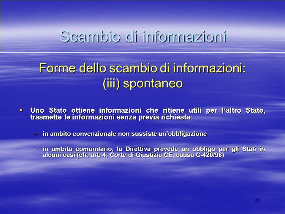 35 Scambio di informazioni Forme dello scambio di informazioni: (iii) spontaneo Uno Stato ottiene informazioni che ritiene utili per laltro Stato, tra
