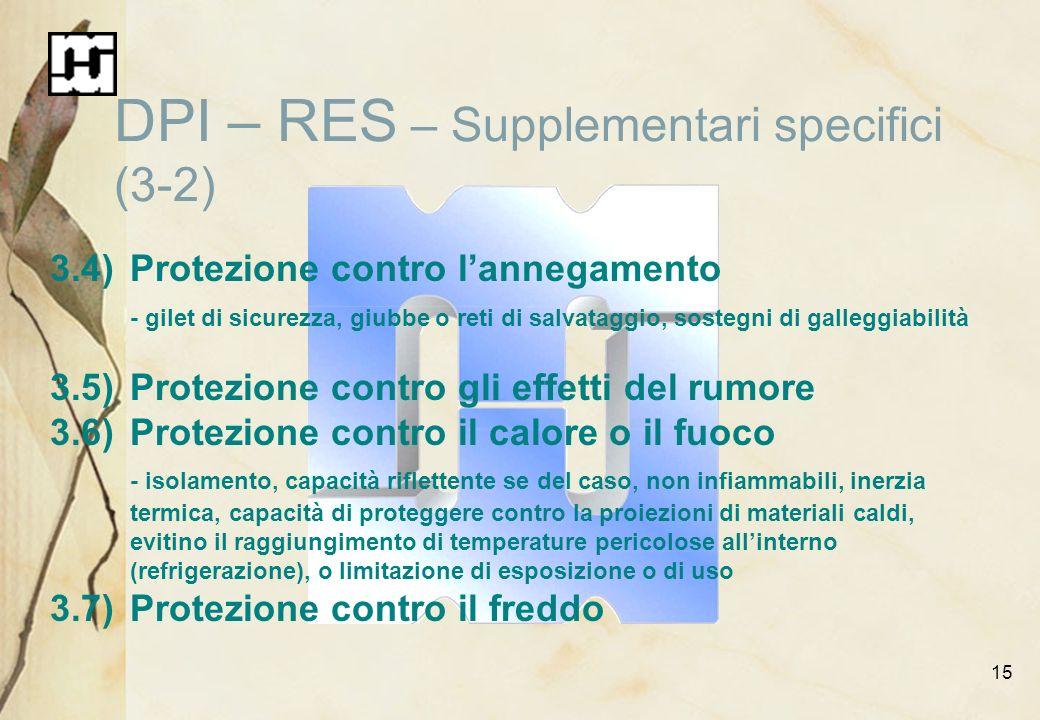 15 DPI – RES – Supplementari specifici (3-2) 3.4)Protezione contro lannegamento - gilet di sicurezza, giubbe o reti di salvataggio, sostegni di galleg