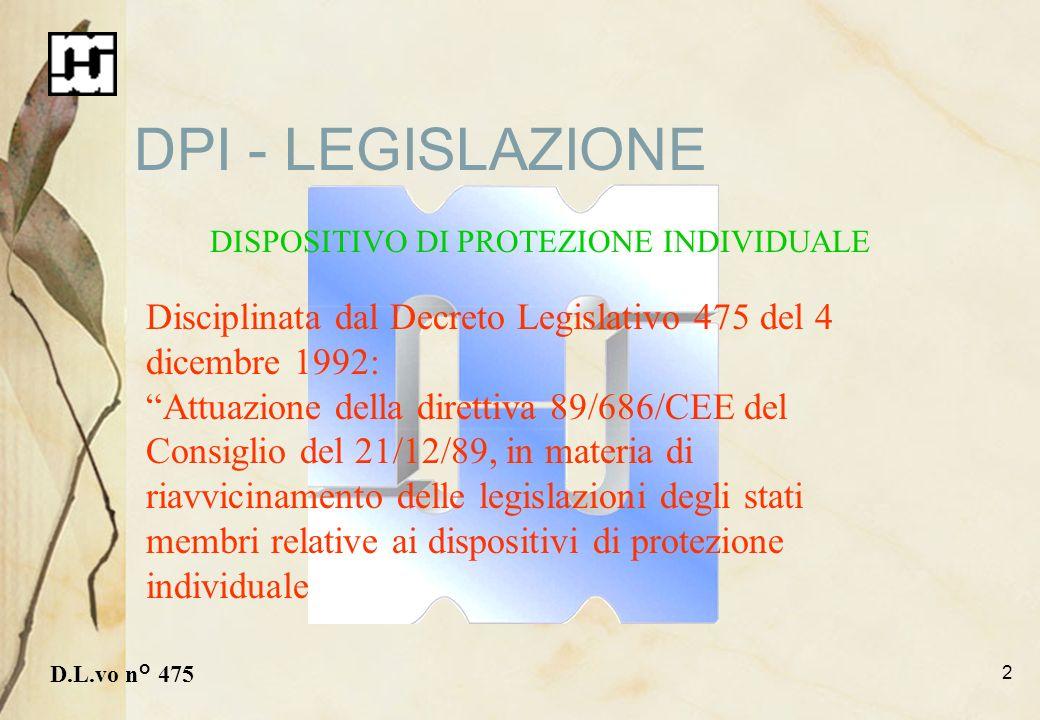 2 DPI - LEGISLAZIONE D.L.vo n° 475 Disciplinata dal Decreto Legislativo 475 del 4 dicembre 1992: Attuazione della direttiva 89/686/CEE del Consiglio d