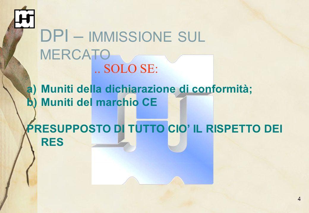 4 DPI – IMMISSIONE SUL MERCATO.. SOLO SE: a)Muniti della dichiarazione di conformità; b)Muniti del marchio CE PRESUPPOSTO DI TUTTO CIO IL RISPETTO DEI
