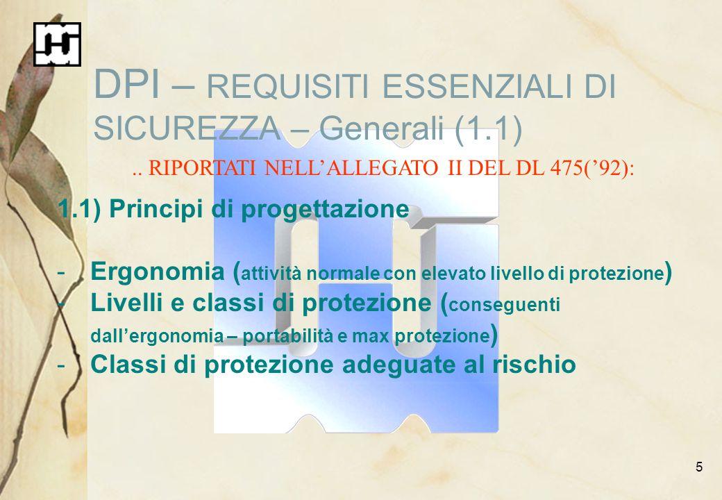 5 DPI – REQUISITI ESSENZIALI DI SICUREZZA – Generali (1.1).. RIPORTATI NELLALLEGATO II DEL DL 475(92): 1.1) Principi di progettazione -Ergonomia ( att