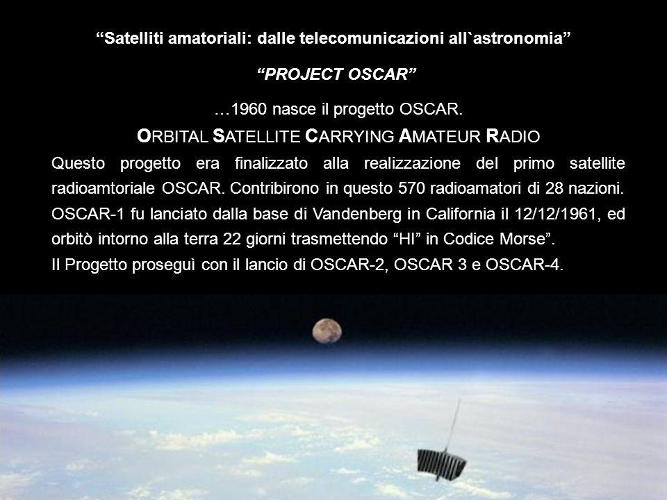 Satelliti amatoriali: dalle telecomunicazioni all`astronomia Astrosat – SkyWave Il progetto prevede il lancio di due microsatelliti, di circa 50 kg ciascuno, lanciati in un orbita polare, uno per losservazione ottica e uno per la radioastronomia.