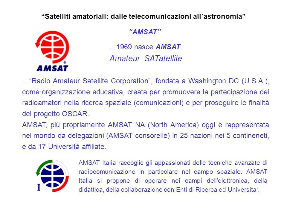 Satelliti amatoriali: dalle telecomunicazioni all`astronomia AMSAT …dal progetto OSCAR ai progetti AMSAT AMSAT Phase system Fase 1: satelliti con tecnologia semplice, di vita breve e alimentati a batterie.