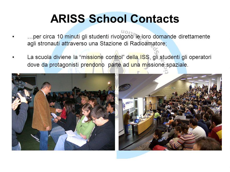 ARISS School Contacts …per circa 10 minuti gli studenti rivolgono le loro domande direttamente agli stronauti attraverso una Stazione di Radioamatore;