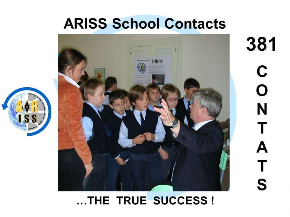 ARISS School Contacts 381 C O N T A T S …THE TRUE SUCCESS !