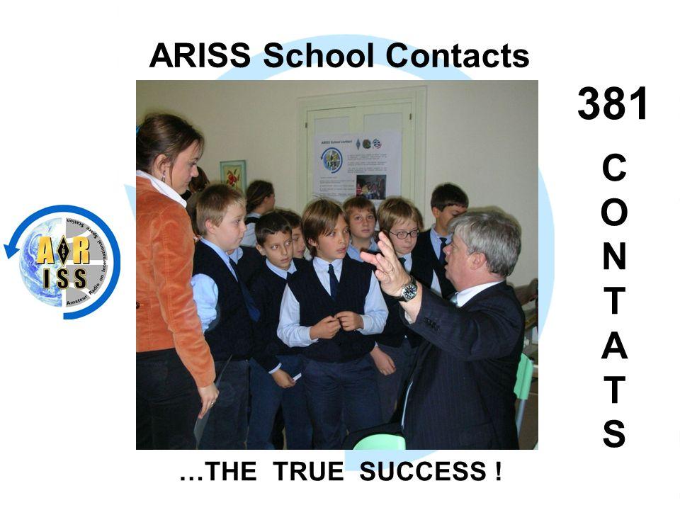 ARISS School Contacts 381 C O N T A T S …THE TRUE SUCCESS !