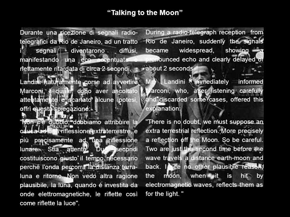 …era nata così lidea di sperimentare la Luna come riflettore per le telecomunicazioni Earth Moon Earth, ovvero le comunicazioni spaziali.