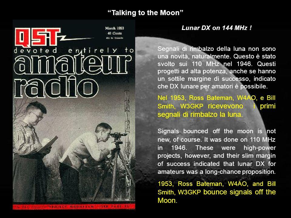 Talking to the Moon Segnali di rimbalzo della luna non sono una novità, naturalmente. Questo è stato svolto sui 110 MHz nel 1946. Questi progetti ad a