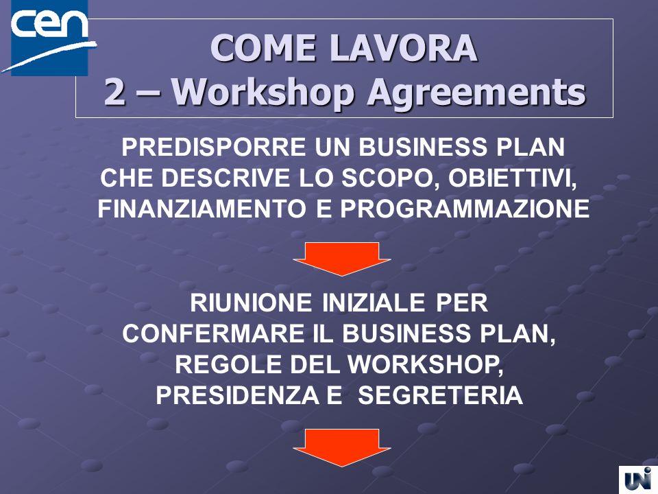 COME LAVORA 2 – Workshop Agreements PREDISPORRE UN BUSINESS PLAN CHE DESCRIVE LO SCOPO, OBIETTIVI, FINANZIAMENTO E PROGRAMMAZIONE RIUNIONE INIZIALE PE