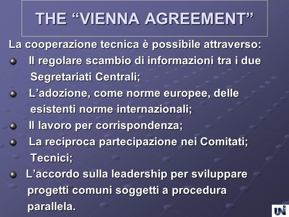 THE VIENNA AGREEMENT La cooperazione tecnica è possibile attraverso: Il regolare scambio di informazioni tra i due Il regolare scambio di informazioni