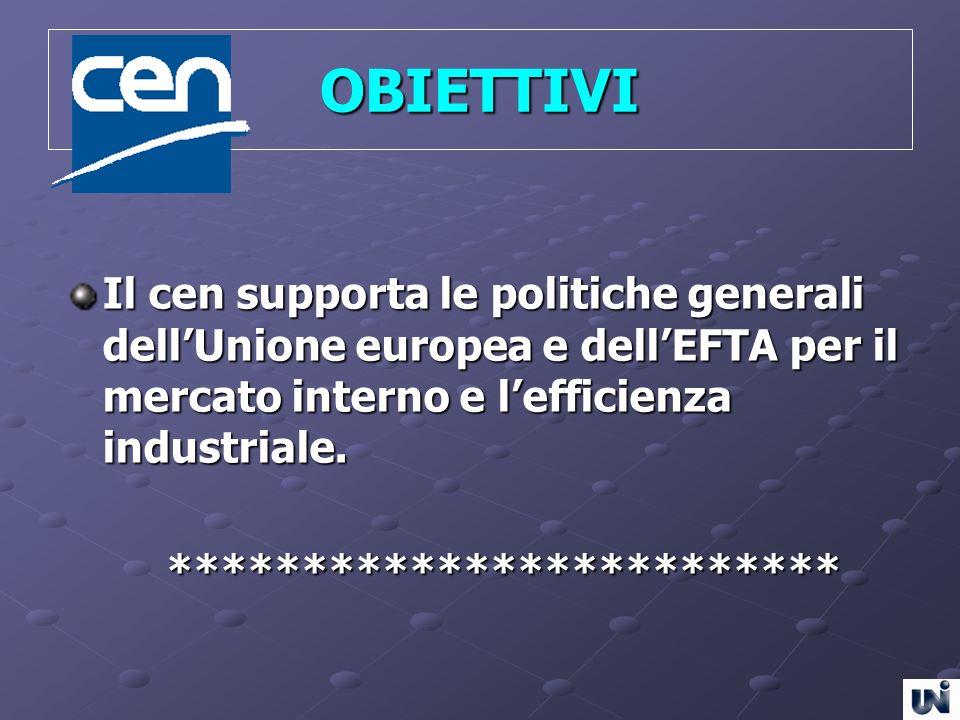 OBIETTIVI Il cen supporta le politiche generali dellUnione europea e dellEFTA per il mercato interno e lefficienza industriale. **********************