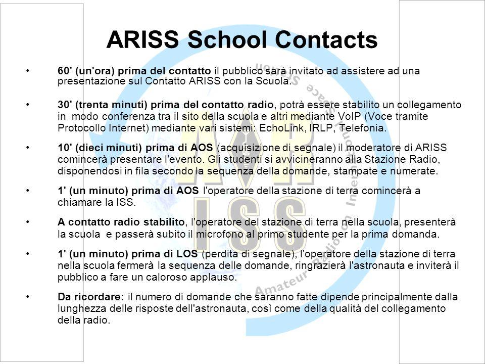 ARISS School Contacts 60' (un'ora) prima del contatto il pubblico sarà invitato ad assistere ad una presentazione sul Contatto ARISS con la Scuola. 30