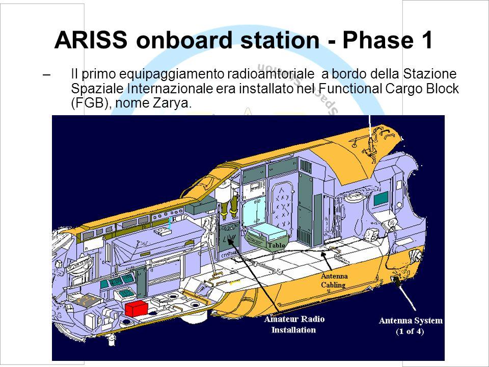 ARISS onboard station - Phase 1 –Phase 1 consiste in un ricetrasmettitore portatile VHF da 5 Watt (Ericsson) collegato ad un sistema di antenna esterna agganciato all FGB, modulo di servizio russo, nome Zvezda.