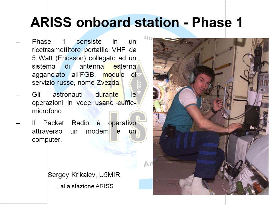 ARISS onboard station - Phase 1 –Phase 1 consiste in un ricetrasmettitore portatile VHF da 5 Watt (Ericsson) collegato ad un sistema di antenna estern