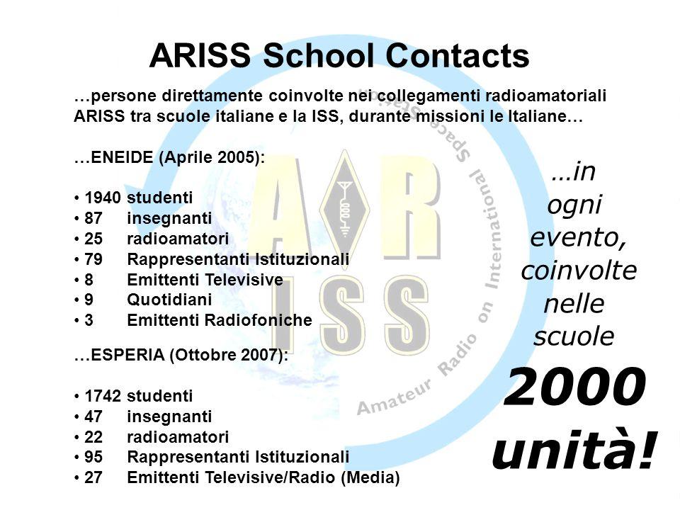 …persone direttamente coinvolte nei collegamenti radioamatoriali ARISS tra scuole italiane e la ISS, durante missioni le Italiane… …in ogni evento, coinvolte nelle scuole 2000 unità.