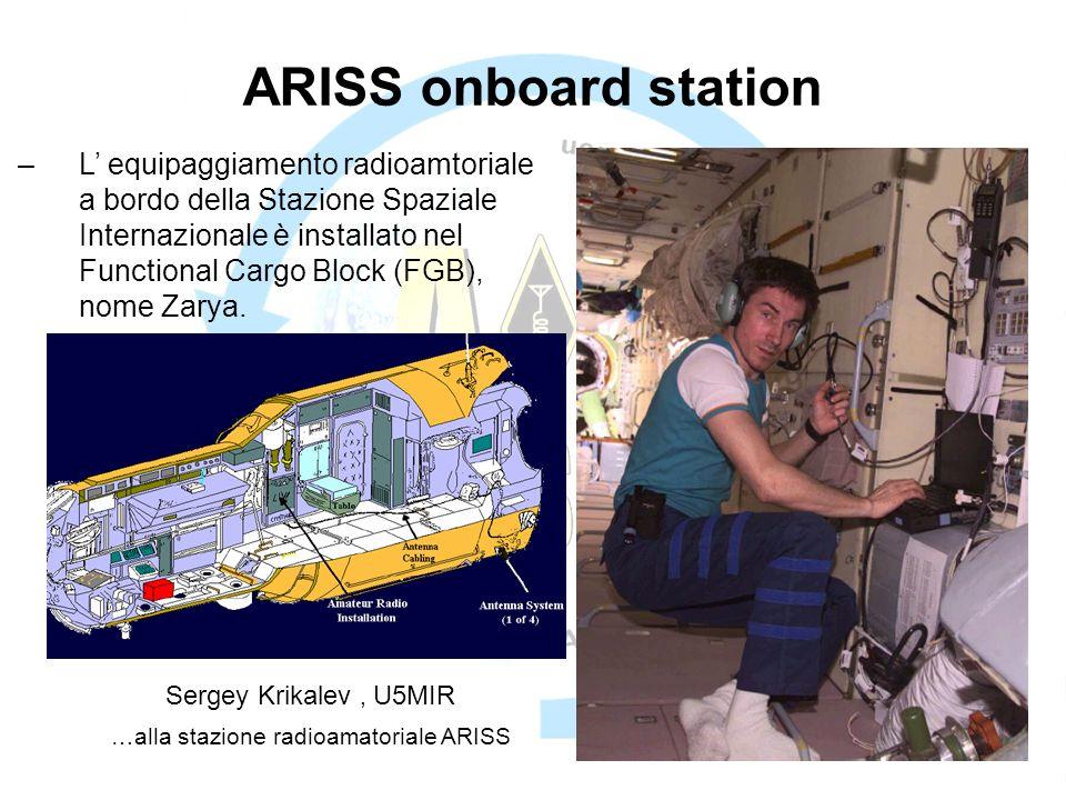 ARISS onboard station Sergey Krikalev, U5MIR …alla stazione radioamatoriale ARISS –L equipaggiamento radioamtoriale a bordo della Stazione Spaziale Internazionale è installato nel Functional Cargo Block (FGB), nome Zarya.