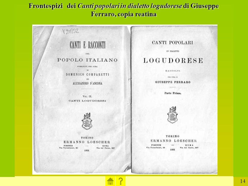 14 Frontespizi dei Canti popolari in dialetto logudorese di Giuseppe Ferraro, copia reatina