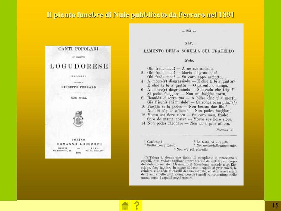 15 Il pianto funebre di Nule pubblicato da Ferraro nel 1891