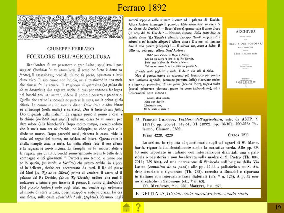 19 E.DELITALA, Gli studi sulla narrativa tradizionale sarda Ferraro 1892 E.