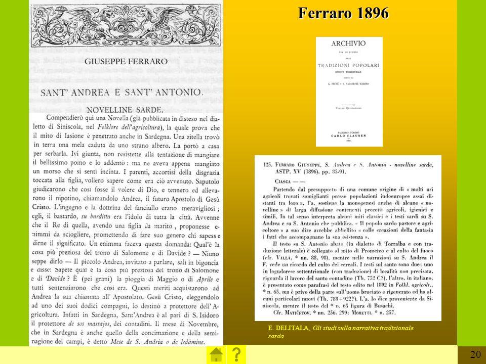 20 E. DELITALA, Gli studi sulla narrativa tradizionale sarda Ferraro 1896
