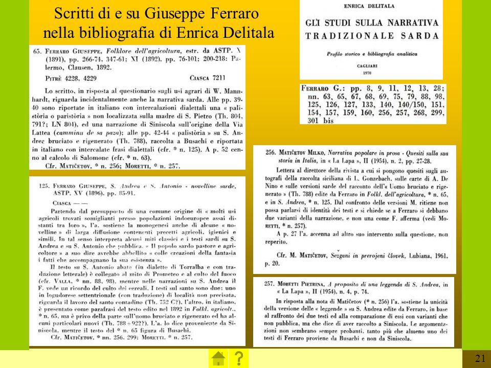 21 Scritti di e su Giuseppe Ferraro nella bibliografia di Enrica Delitala