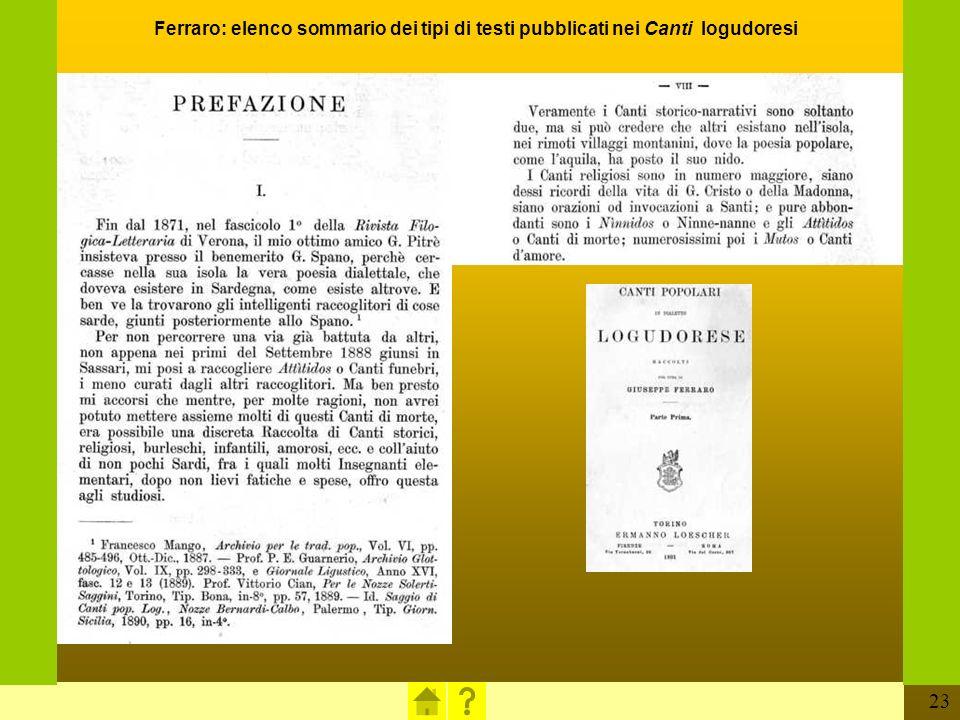 23 Ferraro: elenco sommario dei tipi di testi pubblicati nei Canti logudoresi