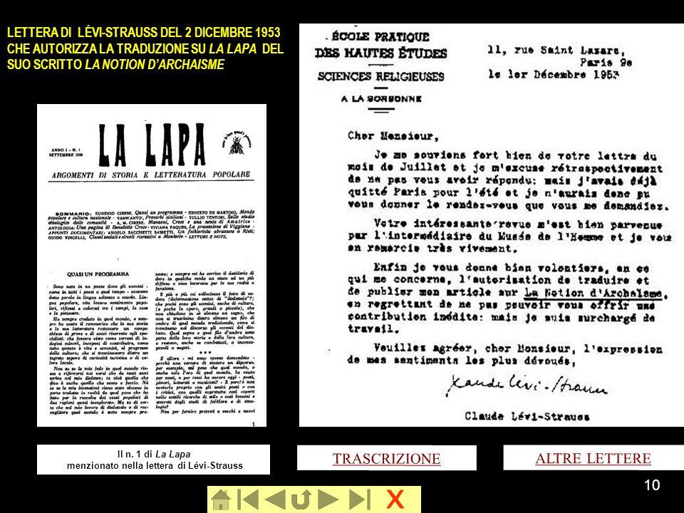 x 10 LETTERA DI LÉVI-STRAUSS DEL 2 DICEMBRE 1953 CHE AUTORIZZA LA TRADUZIONE SU LA LAPA DEL SUO SCRITTO LA NOTION DARCHAISME TRASCRIZIONE ALTRE LETTER