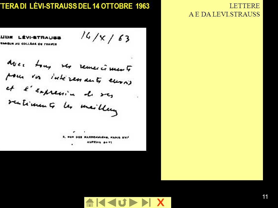 x 11 LETTERA DI LÉVI-STRAUSS DEL 14 OTTOBRE 1963 LETTERE A E DA LEVI.STRAUSS