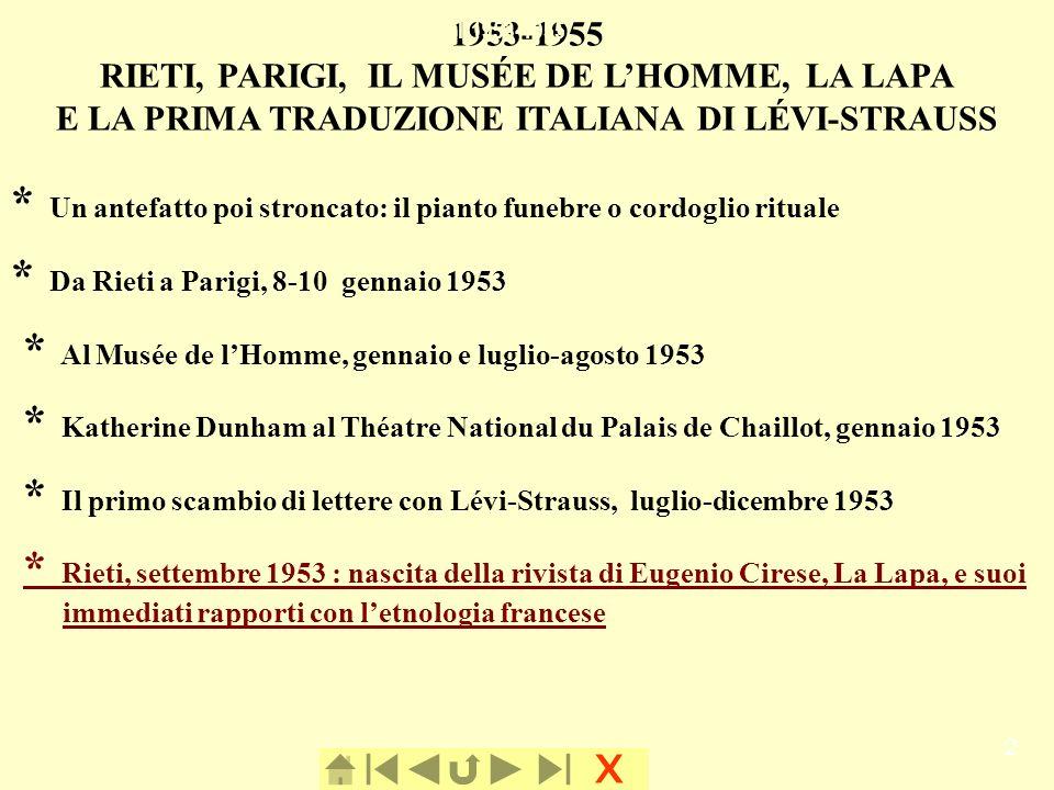 x 2 1953-1955 RIETI, PARIGI, IL MUSÉE DE LHOMME, LA LAPA E LA PRIMA TRADUZIONE ITALIANA DI LÉVI-STRAUSS * Un antefatto poi stroncato: il pianto funebr