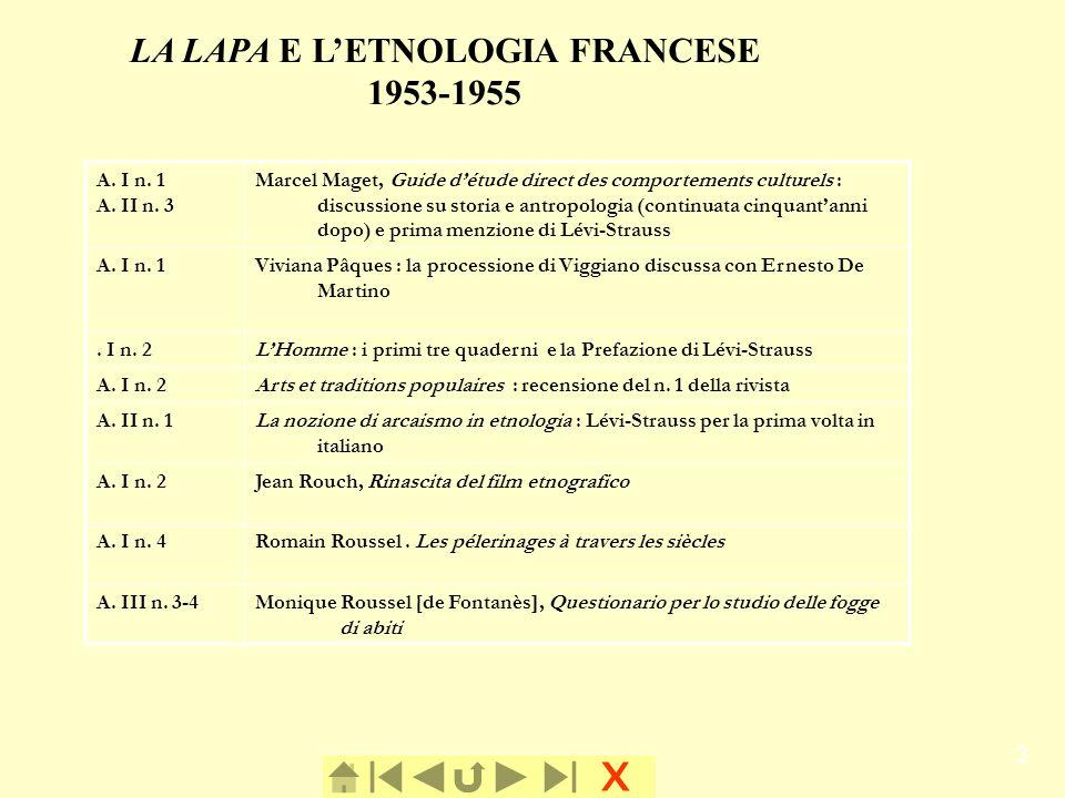 x 3 LA LAPA E LETNOLOGIA FRANCESE 1953-1955 LA LAPA E LETNOLOGIA FRANCESE A. I n. 1 A. II n. 3 Marcel Maget, Guide détude direct des comportements cul