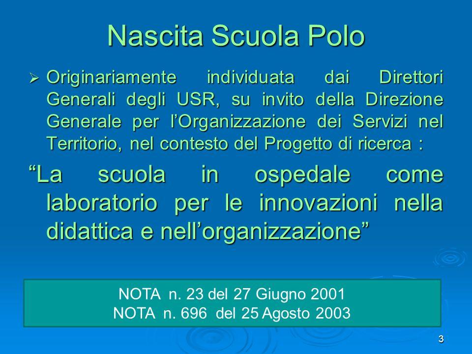 Nascita Scuola Polo Originariamente individuata dai Direttori Generali degli USR, su invito della Direzione Generale per lOrganizzazione dei Servizi n