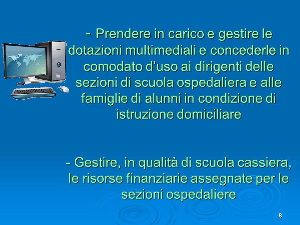 - Prendere in carico e gestire le dotazioni multimediali e concederle in comodato duso ai dirigenti delle sezioni di scuola ospedaliera e alle famigli