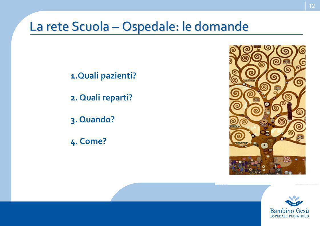 12 La rete Scuola – Ospedale: le domande 1.Quali pazienti 2. Quali reparti 3. Quando 4. Come