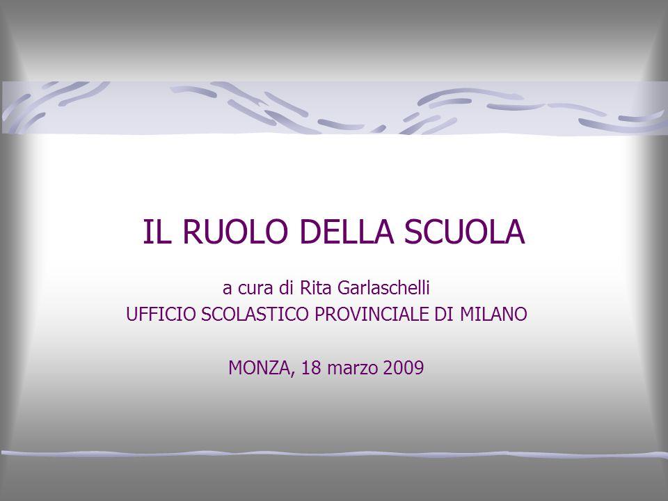IL RUOLO DELLA SCUOLA a cura di Rita Garlaschelli UFFICIO SCOLASTICO PROVINCIALE DI MILANO MONZA, 18 marzo 2009