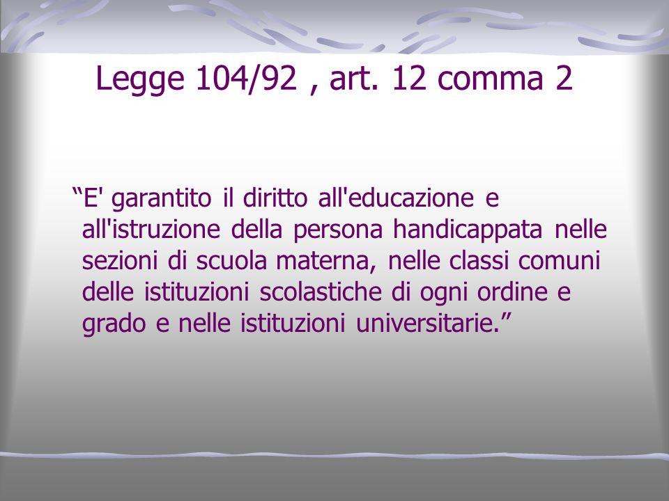 Legge 104/92, art. 12 comma 2 E' garantito il diritto all'educazione e all'istruzione della persona handicappata nelle sezioni di scuola materna, nell