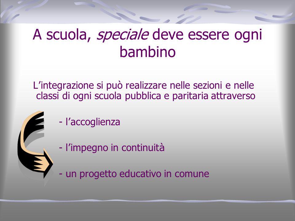 A scuola, speciale deve essere ogni bambino L integrazione si può realizzare nelle sezioni e nelle classi di ogni scuola pubblica e paritaria attraver