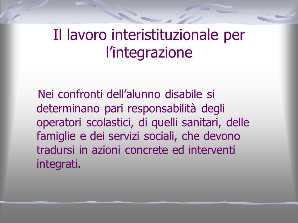 Il lavoro interistituzionale per lintegrazione Nei confronti dellalunno disabile si determinano pari responsabilità degli operatori scolastici, di que
