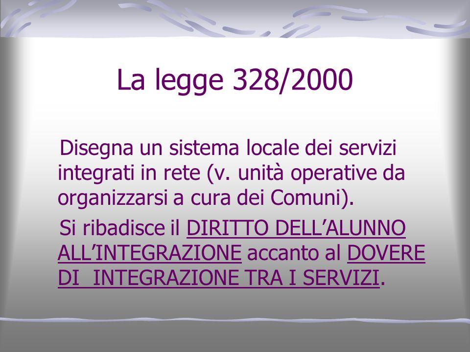 La legge 328/2000 Disegna un sistema locale dei servizi integrati in rete (v. unità operative da organizzarsi a cura dei Comuni). Si ribadisce il DIRI