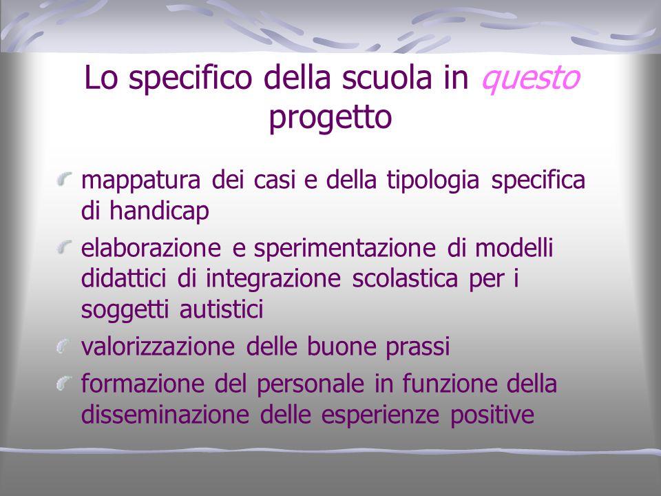 Lo specifico della scuola in questo progetto mappatura dei casi e della tipologia specifica di handicap elaborazione e sperimentazione di modelli dida