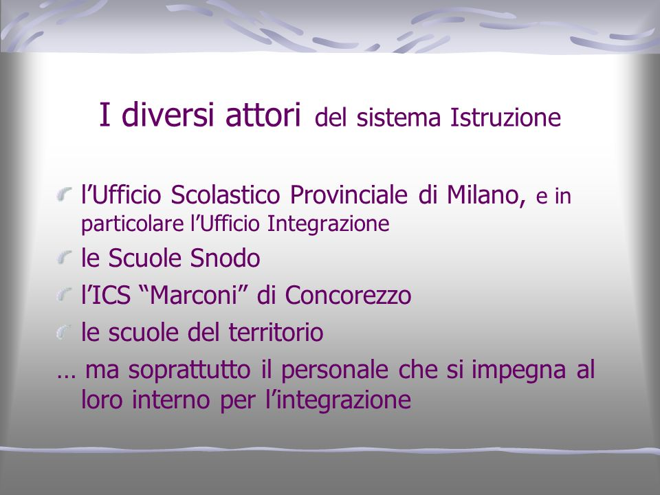 I diversi attori del sistema Istruzione lUfficio Scolastico Provinciale di Milano, e in particolare lUfficio Integrazione le Scuole Snodo lICS Marconi