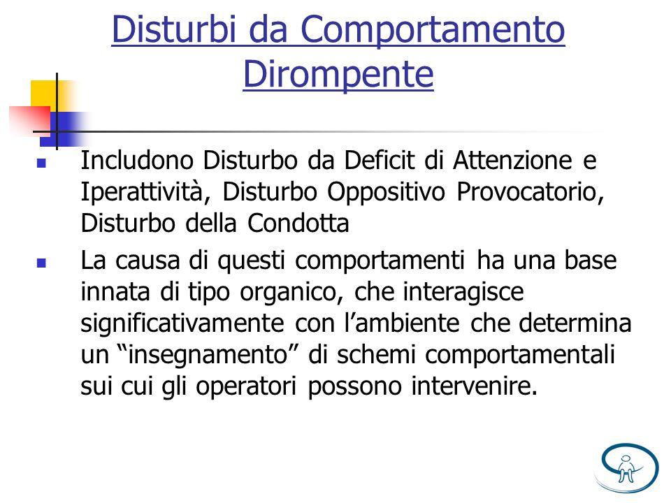 Disturbi da Comportamento Dirompente Includono Disturbo da Deficit di Attenzione e Iperattività, Disturbo Oppositivo Provocatorio, Disturbo della Cond