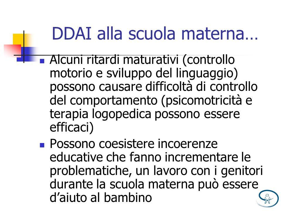 DDAI alla scuola materna… Alcuni ritardi maturativi (controllo motorio e sviluppo del linguaggio) possono causare difficoltà di controllo del comporta