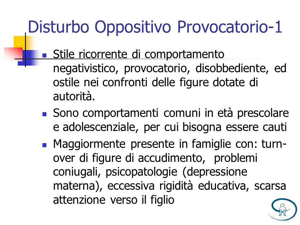 Disturbo Oppositivo Provocatorio-1 Stile ricorrente di comportamento negativistico, provocatorio, disobbediente, ed ostile nei confronti delle figure