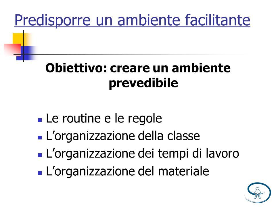 Predisporre un ambiente facilitante Obiettivo: creare un ambiente prevedibile Le routine e le regole Lorganizzazione della classe Lorganizzazione dei