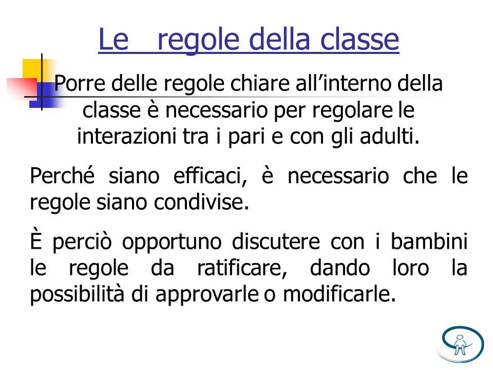 Le regole della classe Porre delle regole chiare allinterno della classe è necessario per regolare le interazioni tra i pari e con gli adulti. Perché